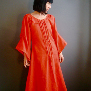Orange Linen Dress - iheartfink Handmade Womens Modern Bohemian Wearable Art Kimono Bell Sleeves Solid Red Orange Long Linen Dress