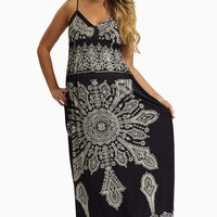 Navy Blue White Printed Maternity Maxi Dress