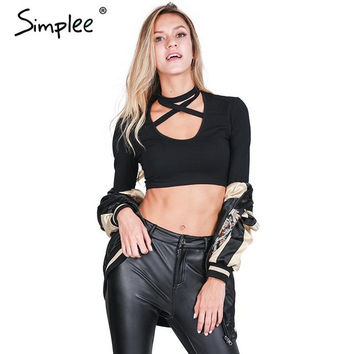Simplee Lace up halter bustier crop top tees Sexy black long sleeve 90's women tops Autumn winter 2016 elegant short tank top