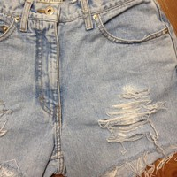 Super Distressed Light Wash High Waisted Denim Shorts from Charleston Denim Co.