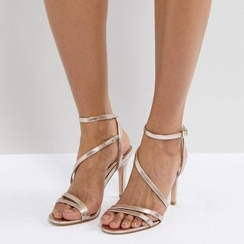 Faith Delly Rose Gold Heeled Sandals at asos.com
