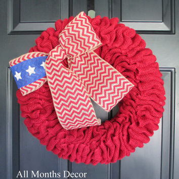 Red Burlap Wreath with American Flag Chevron Burlap Bow, Patriotic, Memorial Day, 4th of July Independence Day, Military Wreath