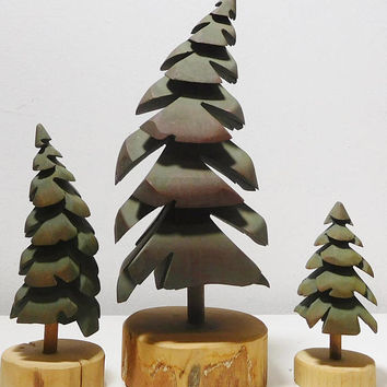 Wood Hand Carved Signed Stamped Dated 1990 Pine Trees Bucky Green Christmas Primitive Cottage Decor Woods