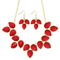 Red Statement Necklace Earring Set,Teardrop Bib Necklace Earrings, Necklace for 2014 Summer