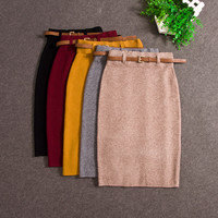 Knitted Skirt Pencil slim midi