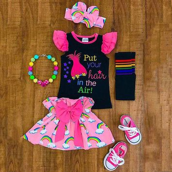 Toddler Kids Baby Girls Rainbow Tops T-shirt +Tutu Skirts Headband Outfits Dress