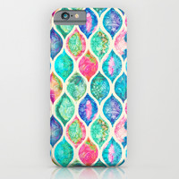 Watercolor Ogee Patchwork Pattern iPhone & iPod Case by Micklyn