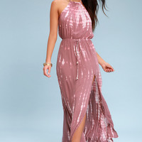 In a Daydream Mauve and Pink Tie-Dye Maxi Dress