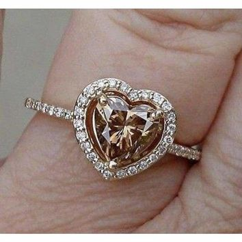 Luxinelle EGL Certified 1 Carat Heart Shaped Brown Diamond Halo Engagement Ring - 14K Yellow Gold by Luxinelle®Jewelry