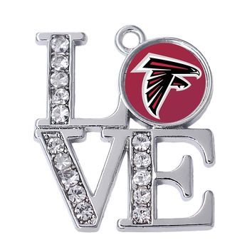 Eco Friendly Metal Alloy White Crystal Atlanta Falcons Football Team Sticker Pendant College University Jewelry
