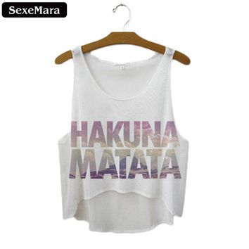 "SexeMara 2018 New ""Hakuna Matata"" Letters Short Crop Tops Women Sexy Tank Top Women Summer Sleeveless Cropped Top Camis F1037"
