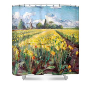 Yellow Spring Tulips Flower Fields Landscape and Windmill in Holland Shower Curtain