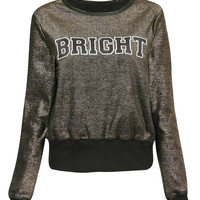Color Block BRIGHT Letter Print Sweatshirt
