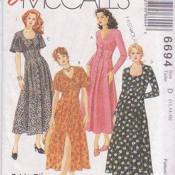 Pattern for button front empire waist fit and flare dress calf length flutter or long sleeves misses size 12 14 16 McCalls 6694 UNCUT