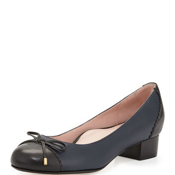 Jerome Nappa Leather Cap-Toe Pump, Navy