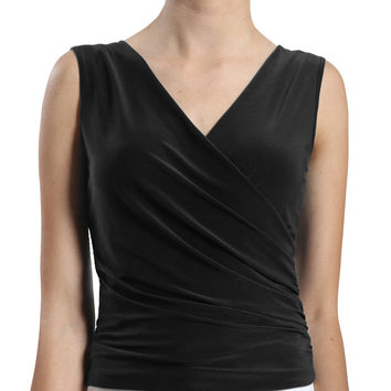 LE3NO Womens Deep V Neck Sleeveless Top with Side Detail (CLEARANCE)