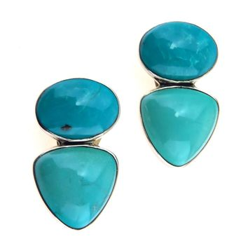 Amy Kahn Russel Two Tone Turquoise Sterling Earrings, Vintage, 1930s to 1980s