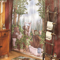 Woodland Moose Bears In The Woods Shower Curtain Bathroom Bath Decor