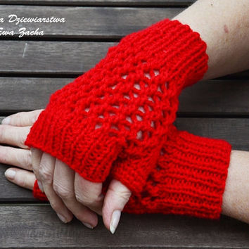 Red  Fingerless Mittens , fingerless gloves in handmade , warmers gloves