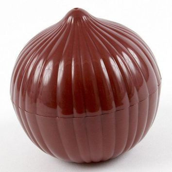 ICIK272 Onion Saver Plastic See Through Onion Container Holder  - Bulb Shaped Onion Cut Onion Fresh and Moist Storage -Assorted
