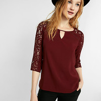 three-quarter sleeve lace keyhole blouse