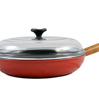 Red Frying Pan with Wood Handle and Glass Lid