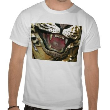 Open tiger mouth statue tee shirt