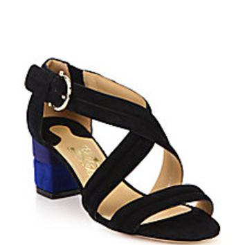 Salvatore Ferragamo - Magis Two-Tone Suede Sandals - Saks Fifth Avenue ...