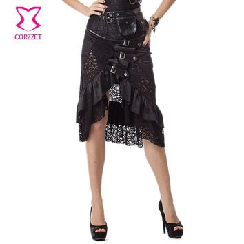 6XL Black Floral Lace & Satin Ruffles Gothic Victorian Skirt Steampunk Skirts Plus Size Women Matching Burlesque Corset Bustier