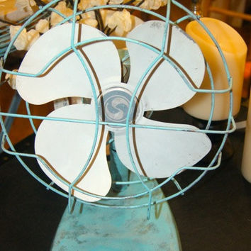 Turquoise Fan / Cast Iron / Home Decor / Shabby Chic / Vintage / Cottage Chic / Fan / Upcycled / Repurposed / Distressed