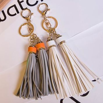 Stylish Leather Tassel Keychain