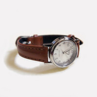 Women's Casio Silver Watch ~ with brown leather strap