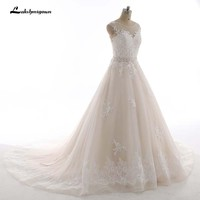 Champagne Wedding Dresses with ivory Lace Appliques Bridal Dress