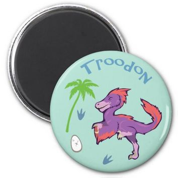 Cute Troodon 2 Inch Round Magnet