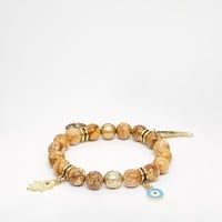 Ashiana Stretch Bead Bracelet With Multi Charm