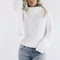 Big Cities Snow White Oversized Chenille Sweater