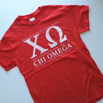 New Chi Omega Red & White Short Sleeve Shirt // Size SMALL // Ready to Ship