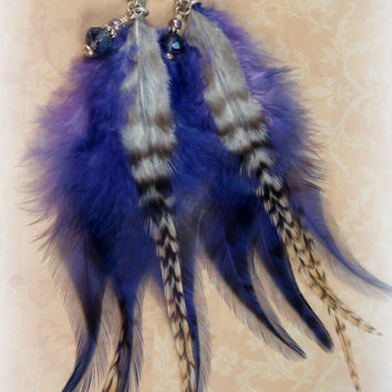 Purple Feather Earrings - Goth, Rave, Punk, Steampunk Feather Earrings - Purple and Beige Feather Earrings - Striped Feather Earrings