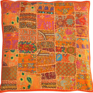 "24x24"" Orange Bohemian Decorative Pillow Cushion Indian Patchwork Pillow Cushion Cover Throw Pillow Toss Pillow Vintage Pillow Sofa Pillow"