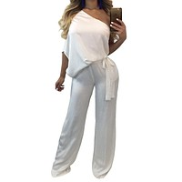Loose Short Sleeves One Shoulder High Waist Long Wide-leg Jumpsuits