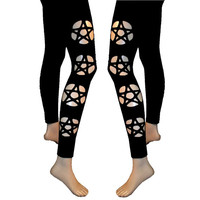 Black Pentagram Cut Out Leggings