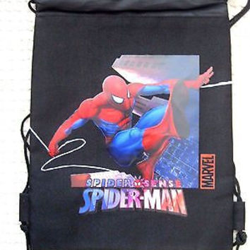 SPIDERMAN BLACK DRAWSTRING BAG BACKPACK TRAVEL STRING POUCH MARVEL COMICS-NEW2