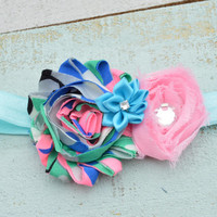 Blue Shabby Flower Headband/ Cotton Candy Headband, Rhinestone