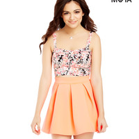 Aeropostale Womens Solid Pleated Skater Skirt - Neon,