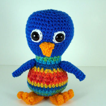 Crochet Amigurumi Blue Bird  -  Silly Blue Bird