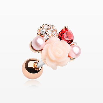 Rose Gold Blossom Rose Sparkle Cartilage Tragus Earring