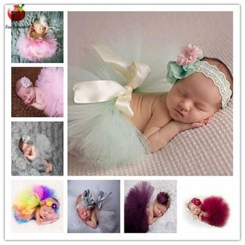 Newborn Photography Props Baby Girls Princess Tutu Skirt Headband New Born Girl Photo Green Pettiskirt fotografia accessories
