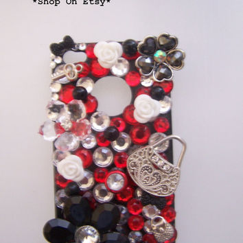 Black Friday Etsy Custom Iphone 4/4s Red, White, Black, Charm Bling Cell Phone Case  FREE SHIPPING