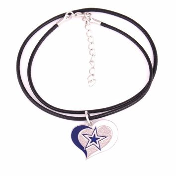 Dallas Cowboys Drop shipping Fans collection single-sided enamel Swirl Heart Football Team logo with Leather chain necklace