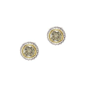 Yellow Round Stud Earring Ring Jewelry Set